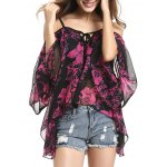 Charming Spaghetti Strap Off Shoulder Bell Sleeve Floral Women's Blouse