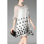 Round Collar Embroidery Organza Dress deal