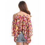 cheap Chic Spaghetti Strap Off Shoulder Bell Sleeve Feather Print Women's Blouse