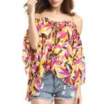 Chic Spaghetti Strap Off Shoulder Bell Sleeve Feather Print Women's Blouse