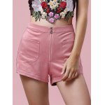 Stylish Zipper Fly Solid Color Pocket Design Women's Shorts for sale