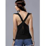 Alluring Plunging Neck Flounce Design Backless Tank Top For Women for sale