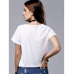 Chic Round Neck Short Sleeve Flag Print T-Shirt For Women for sale