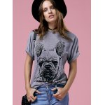 cheap Casual Short Sleeve Round Neck Bulldog Pattern Women's T-Shirt