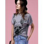 Casual Short Sleeve Round Neck Bulldog Pattern Women's T-Shirt deal