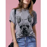 Casual Short Sleeve Round Neck Bulldog Pattern Women's T-Shirt