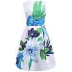 cheap Trendy Women's Jewel Neck Sleeveless Floral Print Pleated Dress