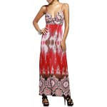 Fashion Plunging Neck High Waisted Printed Maxi Dress For Women