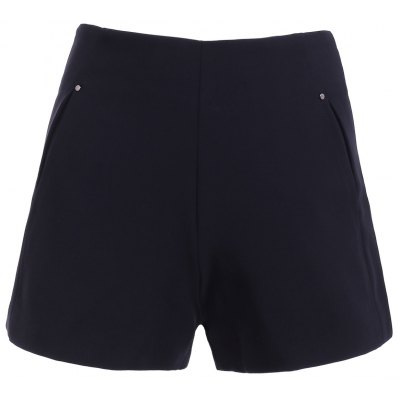 Solid Color High Waist Pockets Shorts  For Women