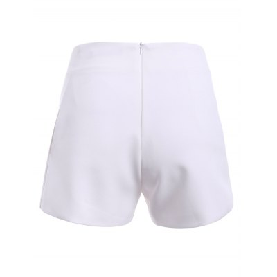Simple Design Solid Color High Waist Pockets Shorts  For Women