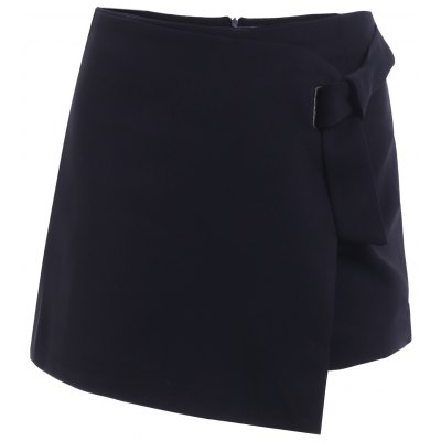 Solid Color Asymmetric Shorts For Women