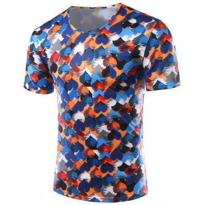 Heart Printing Round Collar Short Sleeves T-Shirts For Men