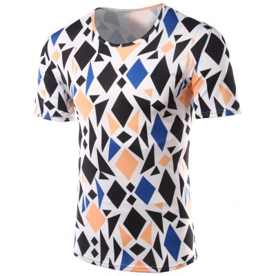 Slimming Geometric Figure Printed Round Collar Short Sleeves T-Shirts For Men
