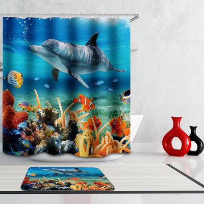 3D Undersea World Digital Printing Mouldproof Shower Curtain For Bathroom