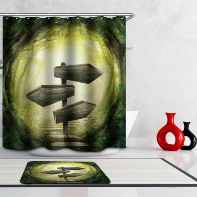 3D Jungle Digital Printing Mouldproof Shower Curtain For Bathroom