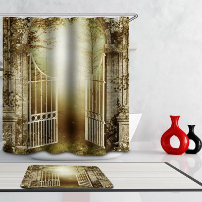 Door of Jungle Digital Printing Mouldproof Shower Curtain For Bathroom