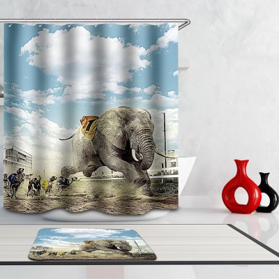3D Animal Games Digital Printing Mouldproof Shower Curtain For Bathroom
