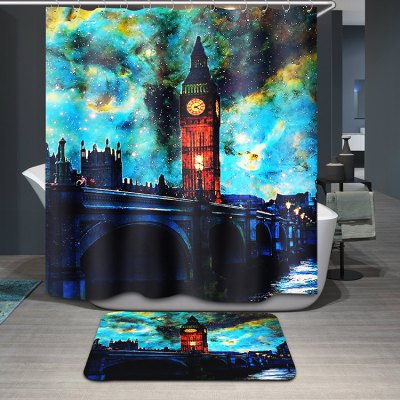 Stylish Big Ben Oil Painting Pattern Waterproof Shower Curtain