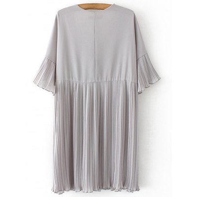 Stylish V-Neck Half Sleeve Pleated Dress For Women