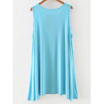 Casual Round Neck Sleeveless Solid Color Dress For Women