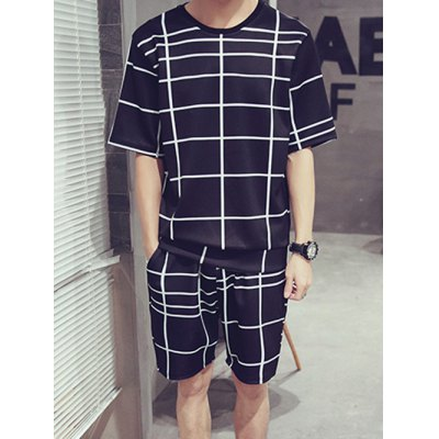 Casual Round Neck Color Block Short Sleeves Plaid T-Shirt Suits For Men(T-Shirt+Shorts)