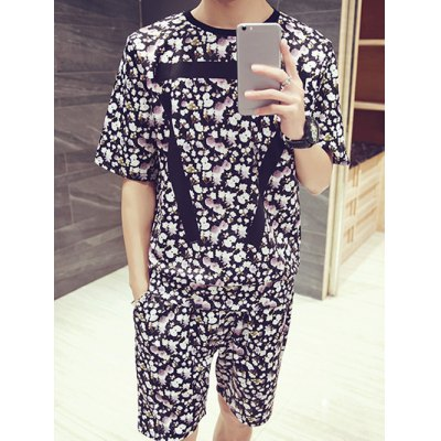 Floral Stripes Pattern Round Neck Short Sleeves Printed T-Shirt Suits For Men(T-Shirt+Shorts)