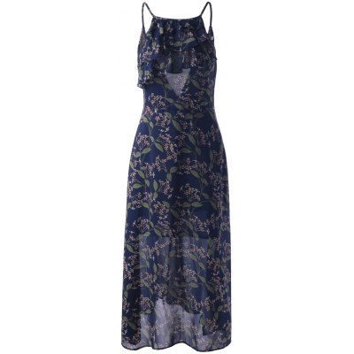 Fitted Spaghetti Strap Ruffle Dress For Women