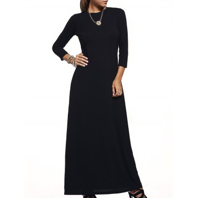 Round Collar Pure Color 3/4 Sleeve Maxi Dress For Women