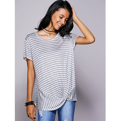 Scoop Neck Striped Twisted T-Shirt For Women