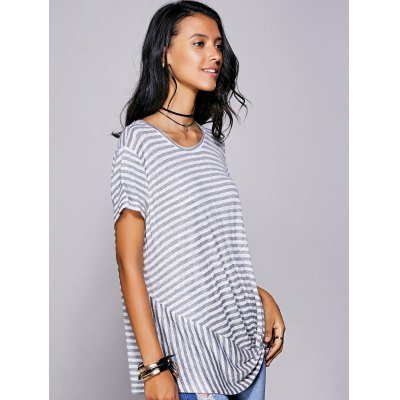 Casual Scoop Neck Striped Twisted T-Shirt For WomenTees<br>Casual Scoop Neck Striped Twisted T-Shirt For Women<br><br>Material: Cotton Blends,Polyester<br>Clothing Length: Regular<br>Sleeve Length: Short<br>Collar: Scoop Neck<br>Style: Casual<br>Season: Summer<br>Pattern Type: Striped<br>Weight: 0.190kg<br>Package Contents: 1 x T-Shirt