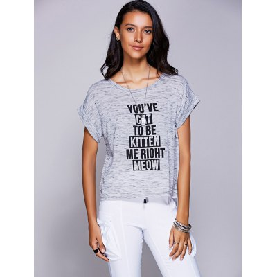 Casual Jewel Neck Letter Print T-Shirt For Women