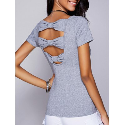 Scoop Neck Cut Out Bowknot T-Shirt For Women