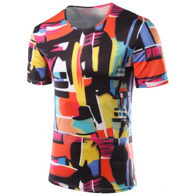 Color Printing Round Collar Short Sleeves T-Shirts For Men