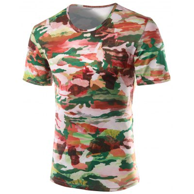 Slimming Printed Round Collar Short Sleeves T-Shirts For Men