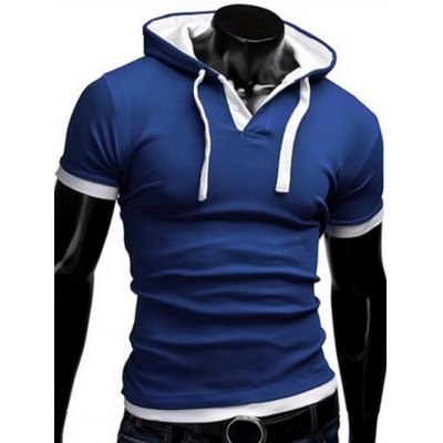 Faux Twinset Hooded Button Embellished Short Sleeves Fitted T-Shirt For Men