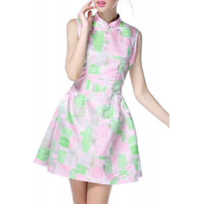 Chinese Frog Button Sleeveless Dress