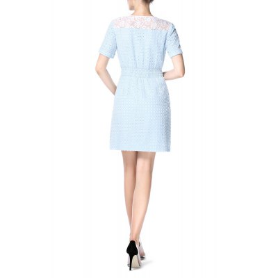 Front Zippered Openwork DressDesigner Dresses<br>Front Zippered Openwork Dress<br><br>Style: Casual<br>Occasion: Causal,Day,Work<br>Material: Cotton<br>Fabric Type: Denim<br>Composition: 100% Cotton<br>Silhouette: A-Line<br>Dresses Length: Mini<br>Neckline: V-Neck<br>Sleeve Length: Short Sleeves<br>Waist: Empire<br>Pattern Type: Solid<br>With Belt: No<br>Season: Summer<br>Weight: 0.390kg<br>Package Contents: 1 x Dress