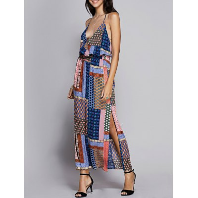 Fitted Spaghetti Strap Check Printed Dress For Women