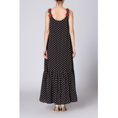 Loose Floral Straps Polka Dot DressDesigner Dresses<br>Loose Floral Straps Polka Dot Dress<br><br>Style: Casual<br>Occasion: Day<br>Material: Cotton,Polyester,Silk,Spandex<br>Composition: Outer Composition:95%Cotton,5%Spandex&lt;br&gt;Lining Composition:70%Polyester,30%Silk<br>Silhouette: A-Line<br>Dresses Length: Ankle-Length<br>Neckline: Round Collar<br>Sleeve Length: Sleeveless<br>Pattern Type: Polka Dot<br>With Belt: No<br>Season: Summer<br>Weight: 0.340kg<br>Package Contents: 1 x Dress