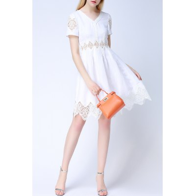 Solid Color Lace Splicing Cut Out Dress
