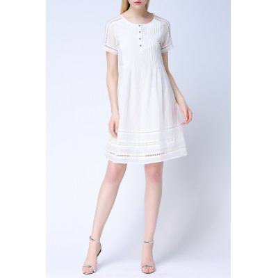 Cut Out Lace Splicing Dress