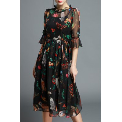 Ruffled Owl Print Silk Dress