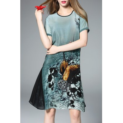 Flared Ink Painting Dress
