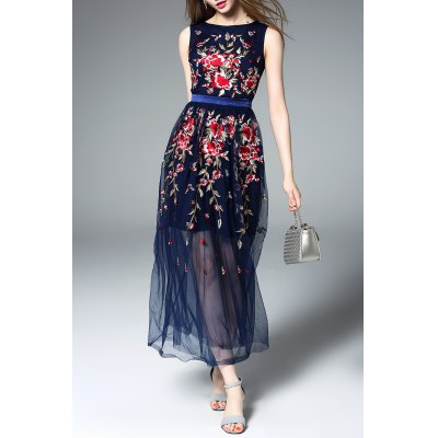 Embroidered Floral Tulle Dress in Blue