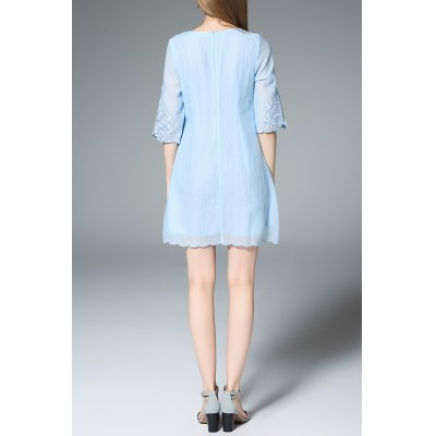 Three Quarter Sleeve Cutwork A-Line DressDesigner Dresses<br>Three Quarter Sleeve Cutwork A-Line Dress<br><br>Style: Cute<br>Occasion: Causal,Day,Night Out,Work<br>Material: Polyester<br>Composition: 100% Polyester<br>Silhouette: A-Line<br>Dresses Length: Mini<br>Neckline: Round Collar<br>Sleeve Length: 3/4 Length Sleeves<br>Pattern Type: Floral<br>With Belt: No<br>Season: Summer<br>Weight: 0.320kg<br>Package Contents: 1 x Dress