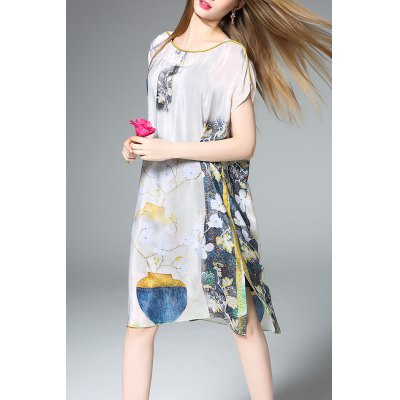 Floral Print Silk Straight Dress