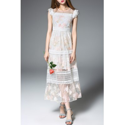 Frilled Lace Patchwork Prom Dress