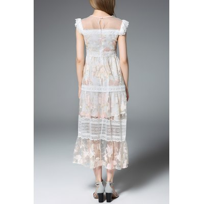 Frilled Lace Patchwork Prom DressDesigner Dresses<br>Frilled Lace Patchwork Prom Dress<br><br>Style: Novelty<br>Occasion: Prom<br>Material: Polyester,Silk<br>Composition: 70% Silk,30% Polyester<br>Silhouette: A-Line<br>Dresses Length: Ankle-Length<br>Neckline: Round Collar<br>Sleeve Length: Short Sleeves<br>Pattern Type: Floral<br>With Belt: No<br>Season: Summer<br>Weight: 0.320kg<br>Package Contents: 1 x Dress