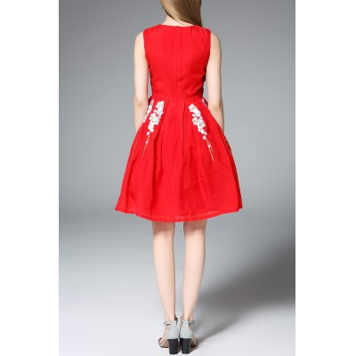 Sleeveless Fit and Flare Red DressDesigner Dresses<br>Sleeveless Fit and Flare Red Dress<br><br>Style: Cute<br>Occasion: Day,Evening,Night Out,Prom,Work<br>Material: Polyester<br>Composition: 100% Polyester<br>Silhouette: A-Line<br>Dresses Length: Mini<br>Neckline: Round Collar<br>Sleeve Length: Sleeveless<br>Pattern Type: Floral<br>With Belt: No<br>Season: Summer<br>Weight: 0.320kg<br>Package Contents: 1 x Dress