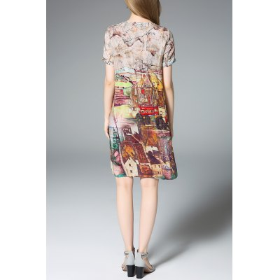 Loose Fit Hand-Painted Silk DressDesigner Dresses<br>Loose Fit Hand-Painted Silk Dress<br><br>Style: A Line<br>Occasion: Casual,Cocktail &amp; Party,Work<br>Material: Silk<br>Composition: 100% Silk<br>Dresses Length: Knee-Length<br>Neckline: Round Collar<br>Sleeve Length: Short Sleeves<br>Pattern Type: Hand-painted<br>With Belt: No<br>Season: Summer<br>Weight: 0.320kg<br>Package Contents: 1 x Dress